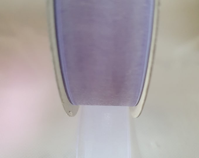 sopp hightlight lilac chiffon woven edge ribbon 25mm wide sold by the metre lilac
