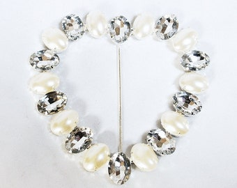 Cuore Big Heart Buckle With Pearl And Diamante gift boxed