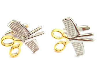 scissors and comb design Cufflinks , cuff links in gift box gold and  silver