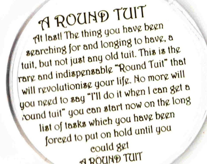 round a round tuit coaster, made in uk drinks, plate  etc coaster, copyright