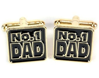 gold plated no.1 dad number one dad no1. cufflinks gift boxed sold per pair