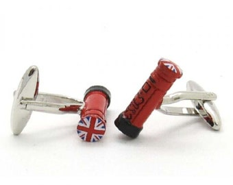 Cufflinks in shape of post box with funky Union Jack decoration supplied in box
