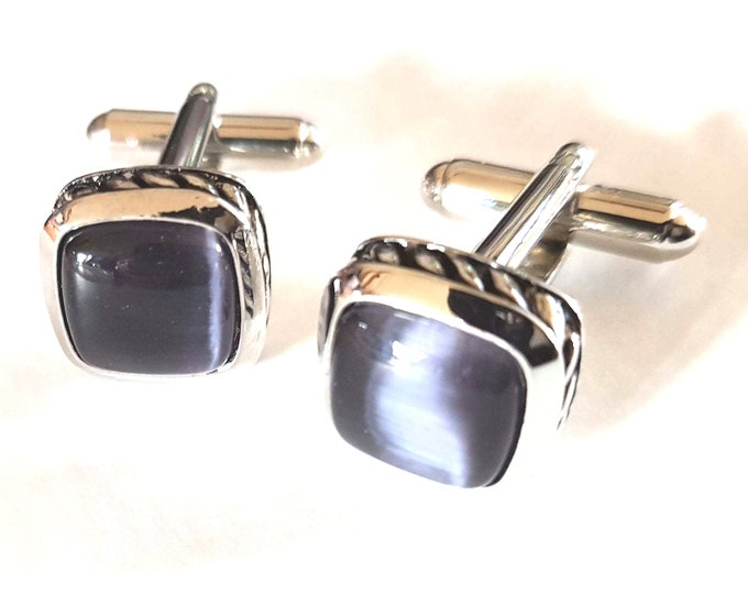 Charcoal Grey Cats Eye cufflinks, silver engraved pattern around real  natural grey cats eye gems  boxed