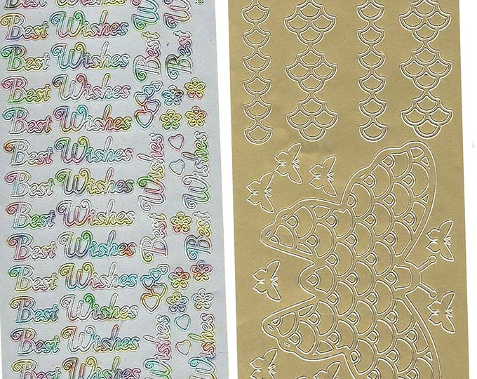 2 sheets lot mixed sheets of peel off stickers see photo for exact items ideal cards, papercraft, display