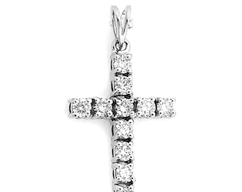 9KW Diamond  Cross Pendant 1 carat of diamonds on white gold