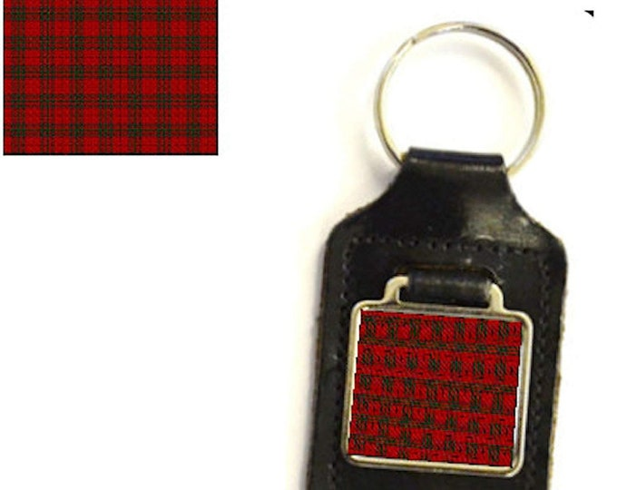 leather and silver plated metal keyring, square design ,mc nab tartan design