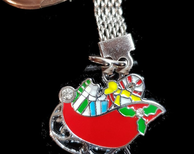 santa sleigh  with chainmail keyring  silver keychain keyring christmas theme