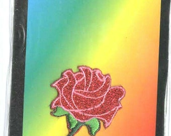 red rose glitter embroidered iron / sew on patch