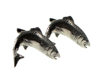 Scottish Salmon design uk pewter Cufflinks in gift box, cuff links