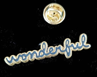 gold wonderful word pin Pin Badge / tie pin. in gift box enamel finished