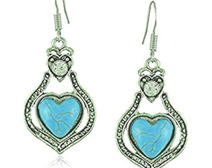 turquoise and cystal drops drop earrings sterling silver with real turquoise