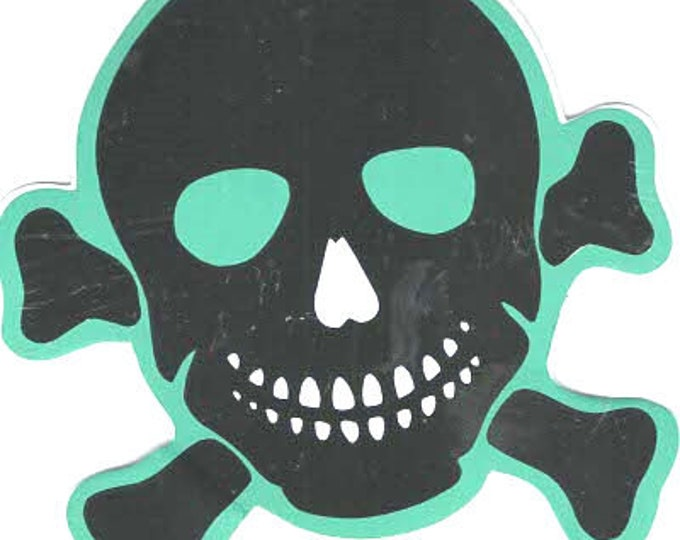 pack of 1 green skull crossbones stickers 10x10cm approx (as shown) self adhesive fun stickers
