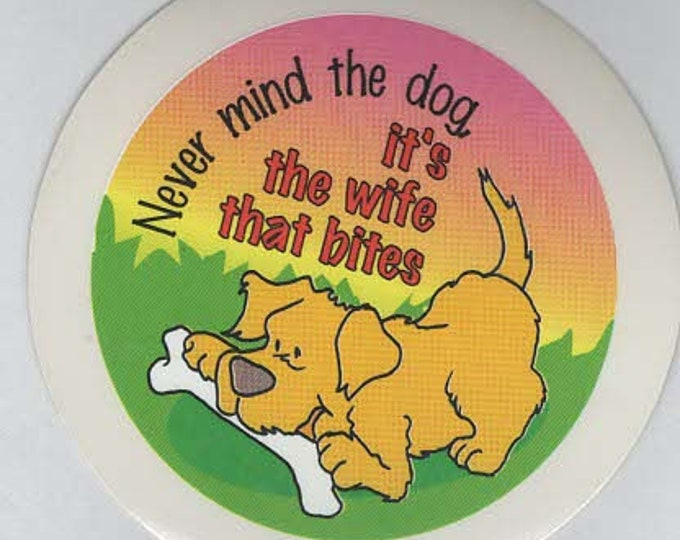 pack of 1 dog ,wife joke stickers 8cm approx (as shown) self adhesive fun stickers