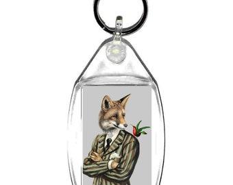 gentleman fox  keyring  handmade in uk from uk made parts, keyring