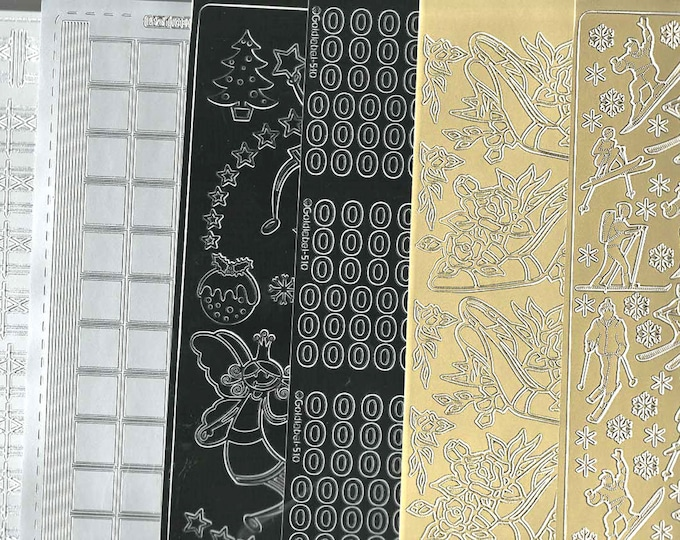 6 sheets mixed lot sheets of peel off stickers  ideal cards, papercraft, display