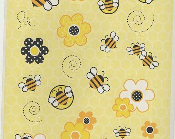 bee theme sheet of peel off stickers ideal cards, papercraft, displays, scrapbooks etc