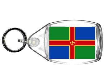 lincolnshire Flag uk county keyring  handmade in uk from uk made parts, keyring