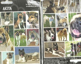 akita dog sheets of peel off stickers ideal cards, papercraft, displays, scrapbooks etc