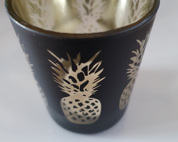 silver pineapple on black glass tealight holder votive candle