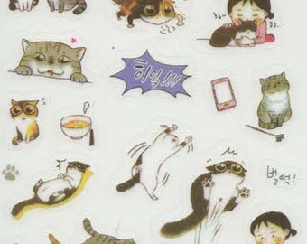 cats sheet of peel off stickers moggies, cats, kittens, ideal cards, papercraft,