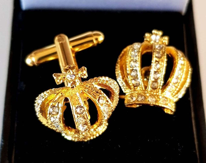 gold and crystal half crown Cufflinks cuff link design . gift boxed