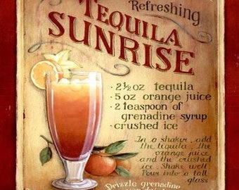 tequila sunrise recipe, coaster, made in uk drinks, plate  etc coaster code 32