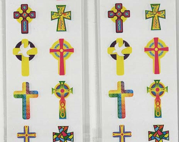 crosses mixed peel offs sheet of peel off stickers  ideal cards, papercraft,