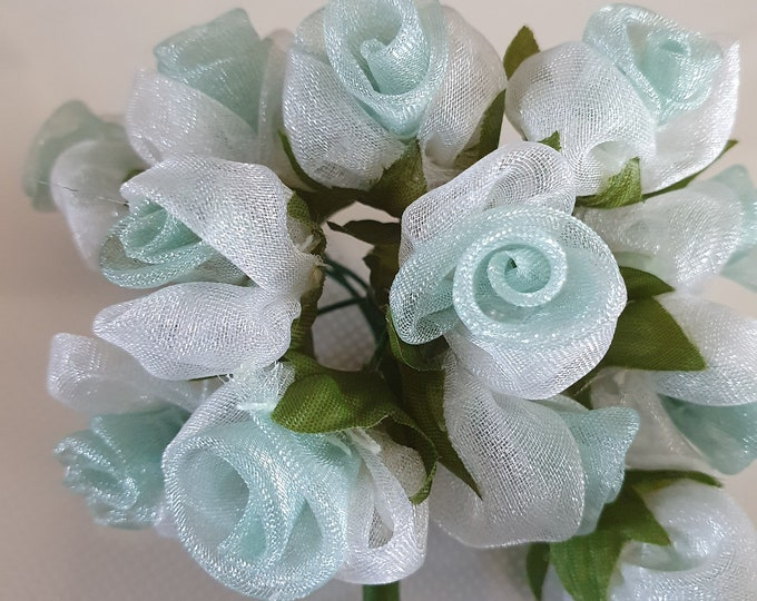 12 aqua  flowers ideal for crafts,and decoration