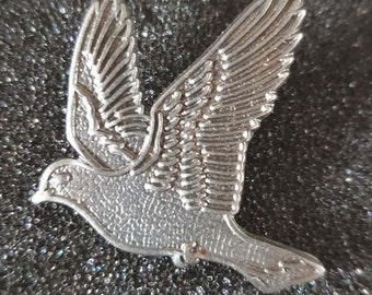 sale price pewter flying dove, bird with clip on rear Pin ,Badge / tie pin