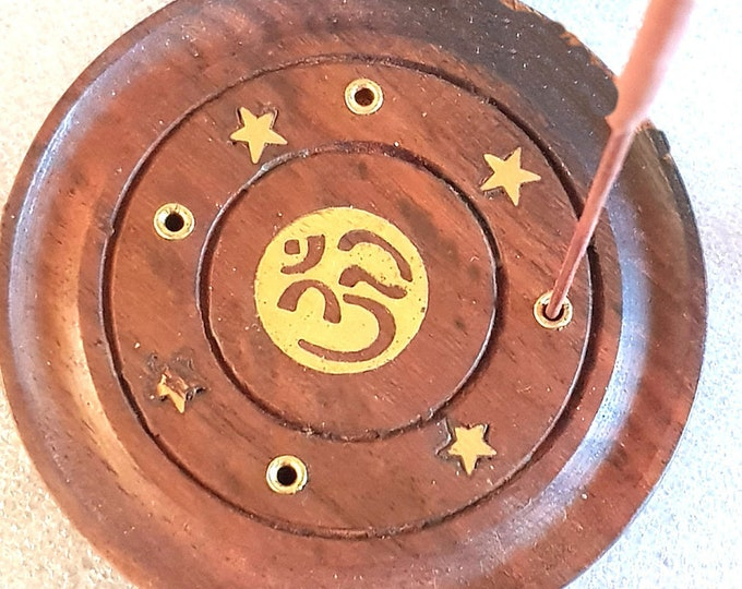 round om sign insence holder ideal for cones or  sticks these are made to order plus 10  mixed sticks or cones for free