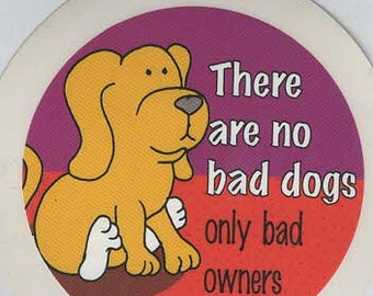 pack of 1 no bad dogs joke stickers 8cm approx (as shown) self adhesive fun stickers
