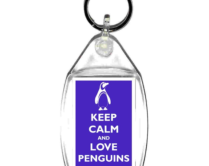 keyring double sided keep calm penguins , keychain, keyfob made in uk