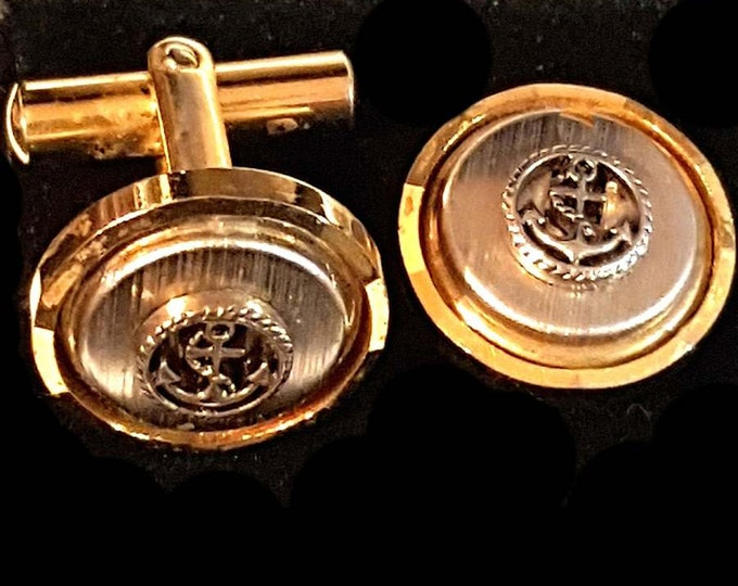 vintage anchor design Cufflinks in gift box cuff links unused vintage