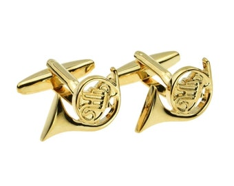 Golden French Horn instrument cufflinks gift boxed