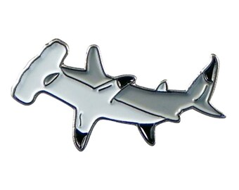 Hammerhead Shark metal and Enamel  tie pin, Lapel Pin Badge, in gift box detailed