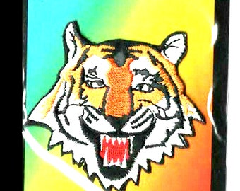 3d tiger face embroidered iron / sew on patch  on ideal clothing,most fabric etc