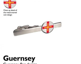 Guernsey Tie Clip Slide official design flag design enamel finish,on silver