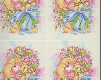 bear with flowers 4 on sheet decoupage sheet high quality printed on quality paper ideal cards etc