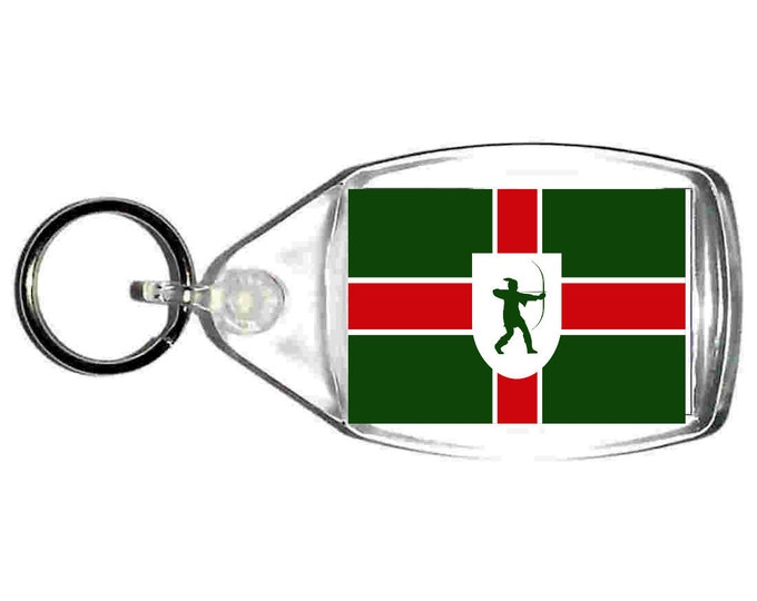 nottinghamshire Flag uk county keyring  handmade in uk from uk made parts, keyring