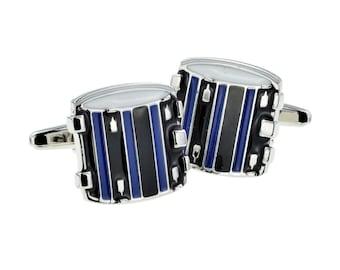 Blue & Black Drums cufflinks  snare, marching drums   drumkit cufflinks gift box
