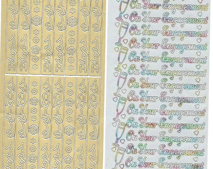 2 sheets lot mixed sheets of peel off stickers  ideal cards, papercraft, display