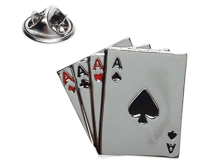 4 Aces Playing Cards  pin badge/ lapel badge with clips on back