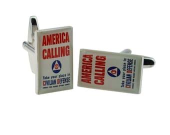 America Calling Nostalgic Wartime Poster Cufflinks. in gift box