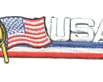embroidered patch usa design with stars and stripes flag depicted iron on or sew on ideal clothing,most fabric etc