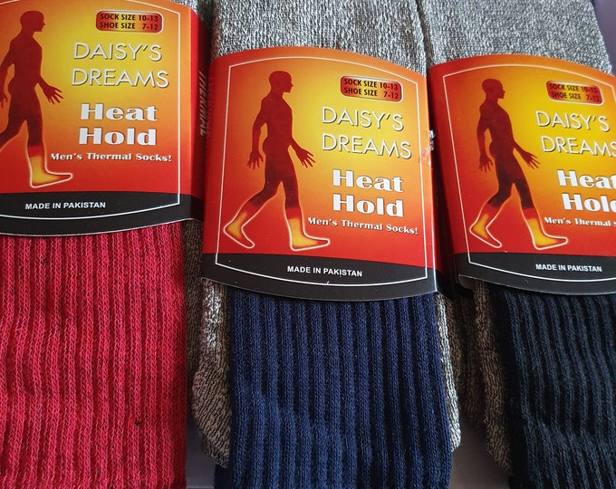 3 pairs thermal socks new red, blue. black end of lines once gone theve gone