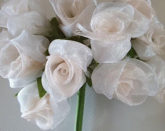 12 peach and white  flowers ideal for crafts,and decoration