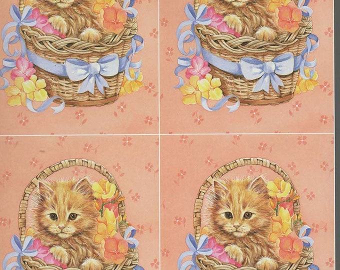 cat in basket style decoupage sheet high quality printed on quality paper