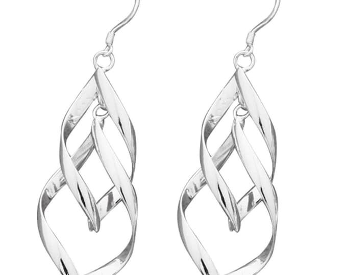 sterling silver hook style earrings  twin twisted drops  design, comes in gift box