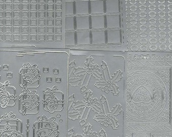 silver 6 sheets mixed sheets of peel off stickers  ideal cards, papercraft,