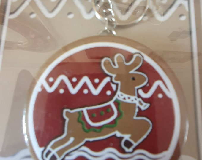 christmas theme reindeer keyring with mirror, keychain keyring  ideal gift